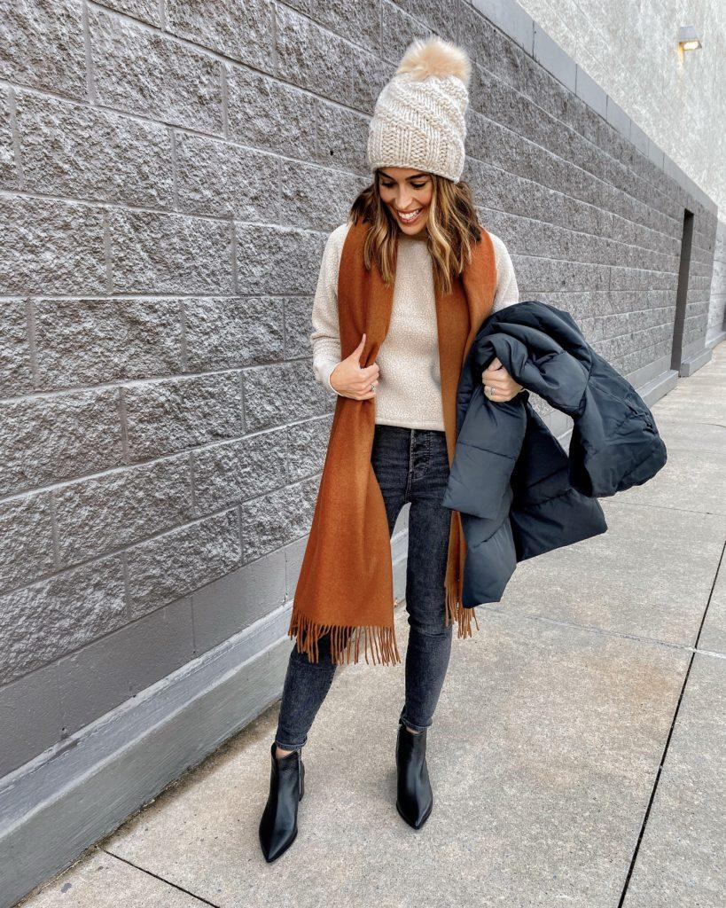 mrscasual blogger jacket sweater scarf jeans shoes celebrity ankle boots fall outfits beanie