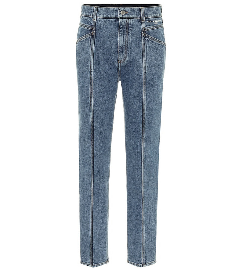 Stella McCartney High-rise stretch-denim slim jeans in blue