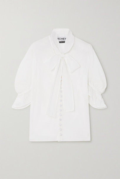 Àcheval Pampa Àcheval Pampa - Chiquita Ruffled Pussy-bow Cotton-voile Blouse - White