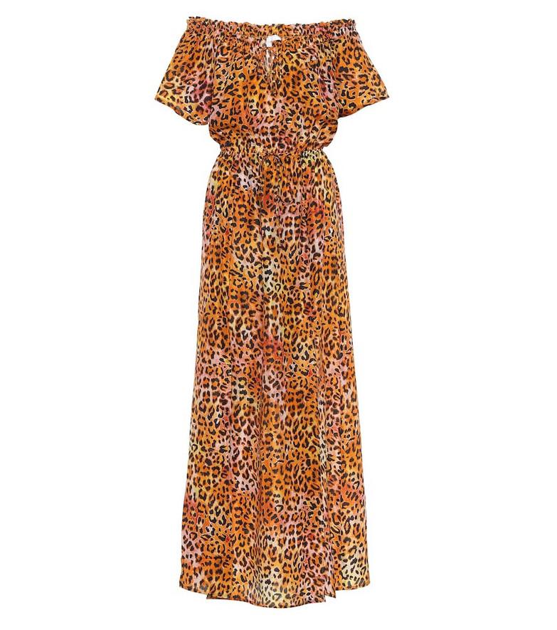 Anna Kosturova Exclusive to Mytheresa – Leopard-print silk maxi dress in orange