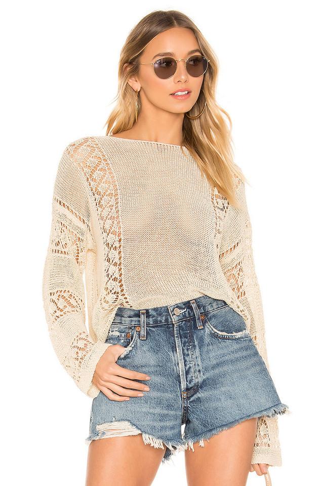 MINKPINK Anita Open Knit Sweater in beige