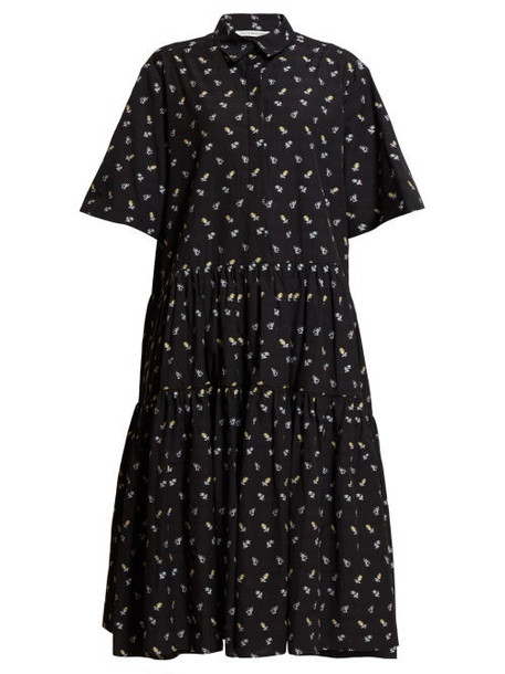 Cecilie Bahnsen - Amy Floral Print Tiered Shirtdress - Womens - Black