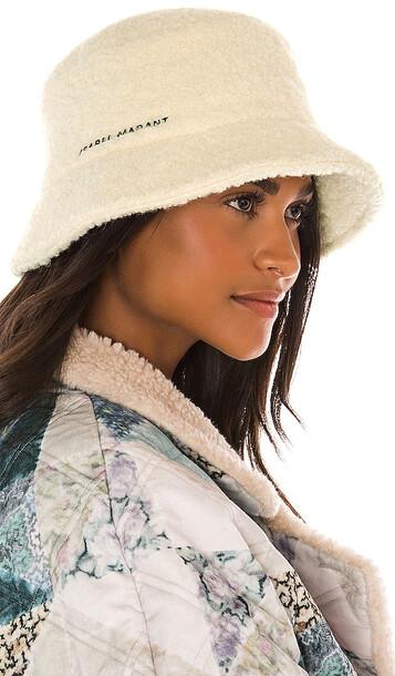 Isabel Marant Denji Hat in Cream in ecru