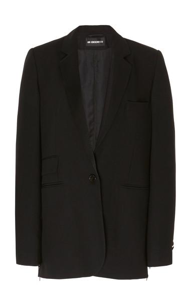 Ann Demeulemeester Zip-Accented Virgin Wool Blazer in black
