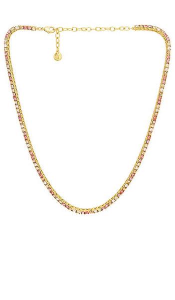 BaubleBar Bennett Tennis Necklace in Metallic Gold in pink