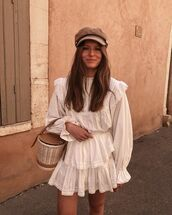 top,white blouse,mini skirt,white skirt,bucket bag