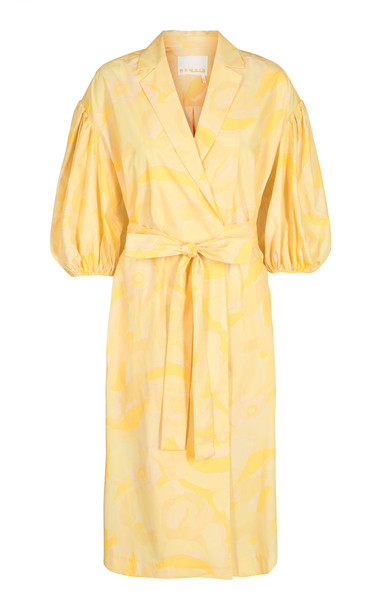 Remain West Cotton Embroidered Dress in yellow