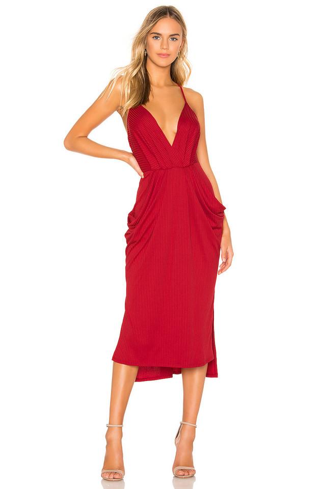 BCBGeneration Rib Knit Midi Dress in red