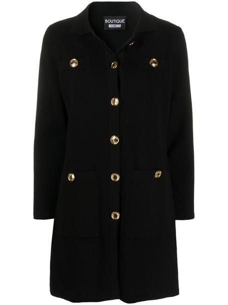 Boutique Moschino buttoned cotton cardi-coat in black