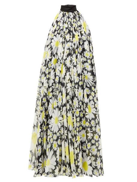 Richard Quinn - Halterneck Daisy Print Chiffon Dress - Womens - Black Yellow