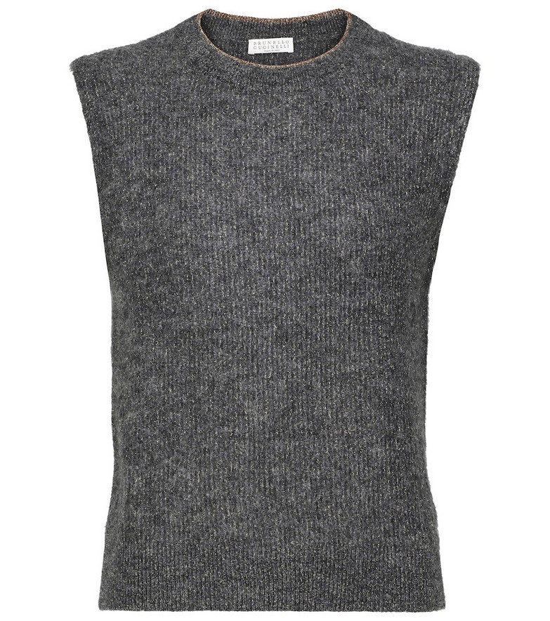 Brunello Cucinelli Metallic mohair-blend sweater vest in grey