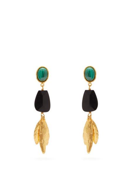Sylvia Toledano - Malachite Drop Clip Earrings - Womens - Green