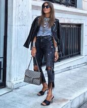 jeans,black jeans,ripped jeans,black sandals,gucci bag,black leather jacket,grey t-shirt