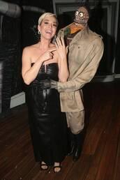 dress,strapless,strapless dress,celebrity,katy perry,leather,leather dress