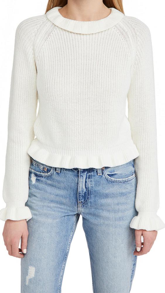 endless rose Ruffle Long Sleeve Sweater in cream