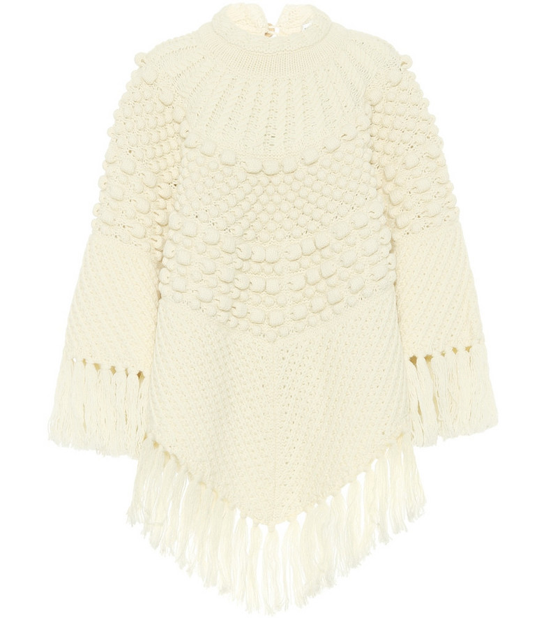 Saint Laurent Wool poncho in white