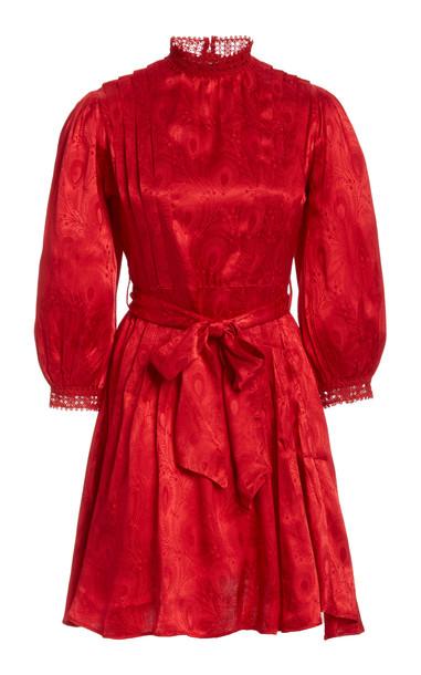 byTiMo Jacquard Tie-Waist Mini Dress