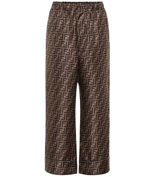 Fendi Printed silk wide-leg cropped pants in brown