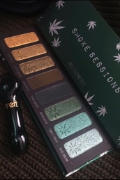make-up,weed,makeup palette,eye shadow,eyeshadow palette,cannabis prints,marijuana,beauty organizer,palette,eye makeup,dark,dark eye shadow,green
