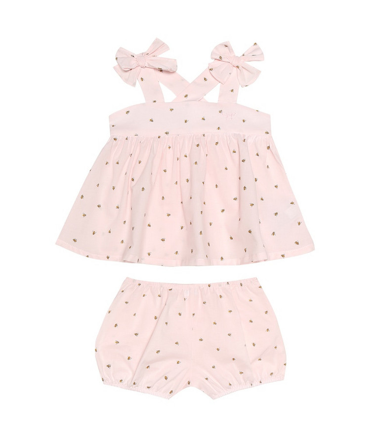Il Gufo Baby cotton dress and bloomers set in pink
