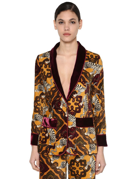 F.R.S. FOR RESTLESS SLEEPERS Printed Cotton Velvet Jacket in gold / multi