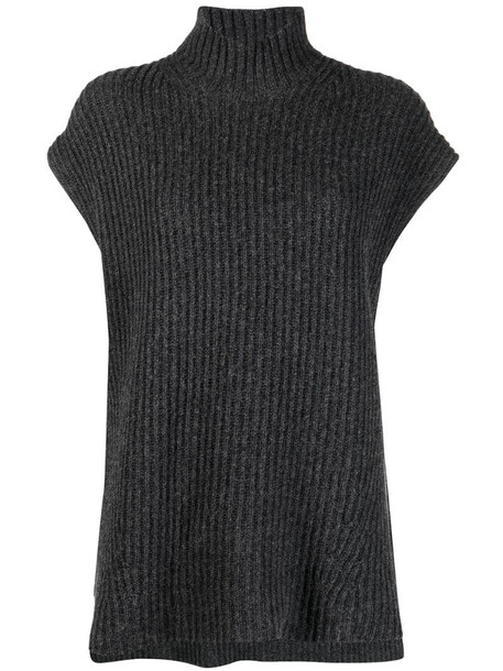 GANNI cap sleeve ribbed vest in grey