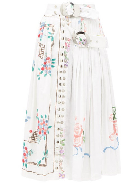 Chopova Lowena - Belted Embroidered Recycled-linen Midi Skirt - Womens - White Multi