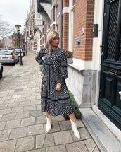 dress,midi dress,long sleeve dress,black and white,white boots