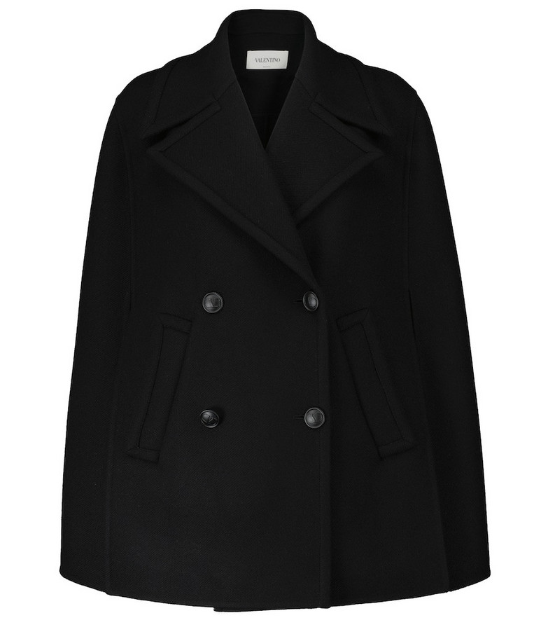 Valentino Wool-blend cape coat in black