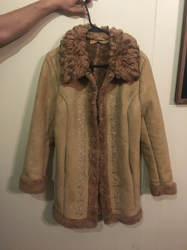coat coat with embroidery and fur r 70s style