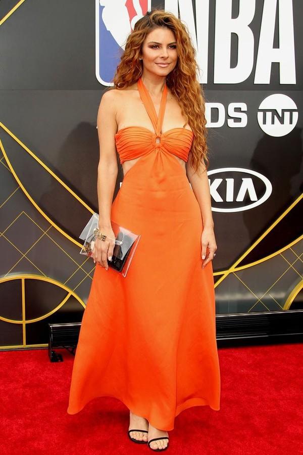 dress orange orange dress maxi dress summer dress maria menounos celebrity