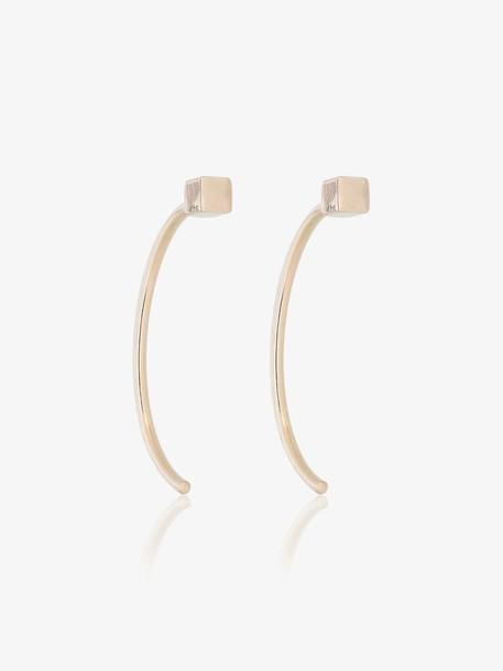 Melissa Joy Manning long curved cube bar earrings in metallic