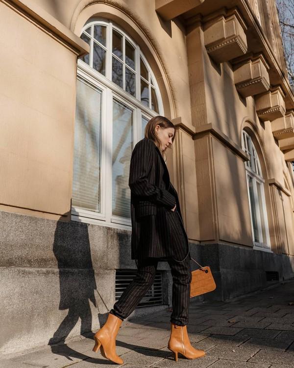 jacket blazer stripes striped pants brown boots heel boots brown bag bag crossbody bag pants max mara
