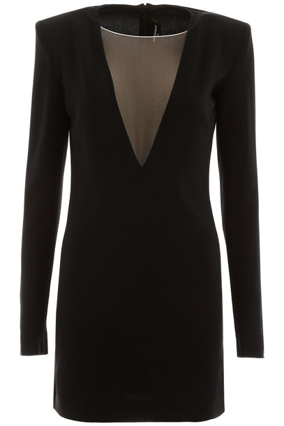 Dsquared2 Mini Dress With Tulle Insert in black