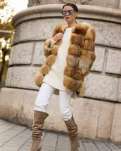 coat,faux fur coat,knee high boots,heel boots,white jeans,white sweater,knitted sweater,sunglasses