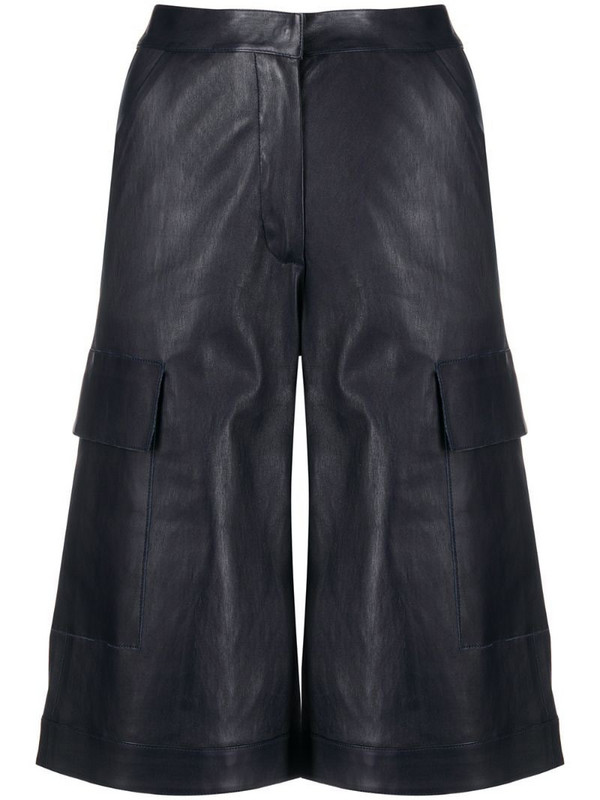 Inès & Maréchal long leather shorts in blue