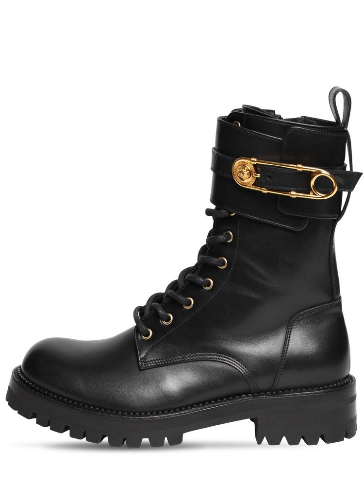 VERSACE 40mm Leather Combat Boots in black