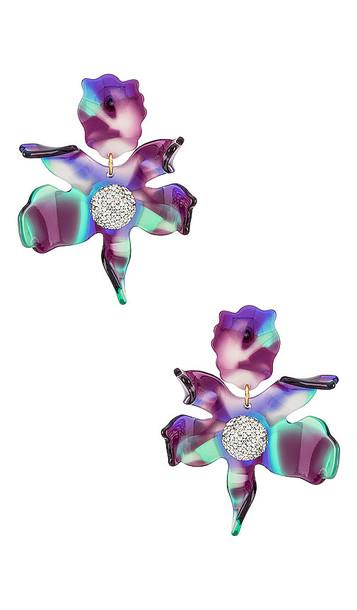 Lele Sadoughi Crystal Lily Earrings in Purple in blue