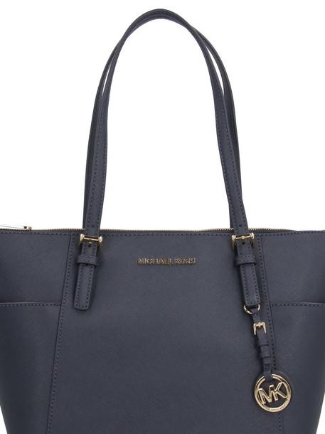 Michael Kors Jet Set Saffiano Leather Tote Bag in blue