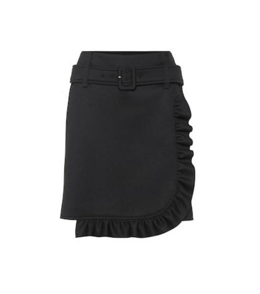 Prada Jersey ruffled miniskirt in black