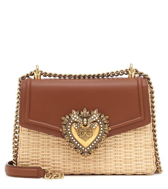 Dolce & Gabbana Devotion raffia shoulder bag in brown