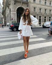 top,crop tops,white top,long sleeves,mini skirt,white skirt,sandals,wood,handbag,nastygal