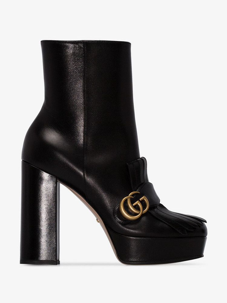 Gucci leather ankle boot with plateau and fringe in black