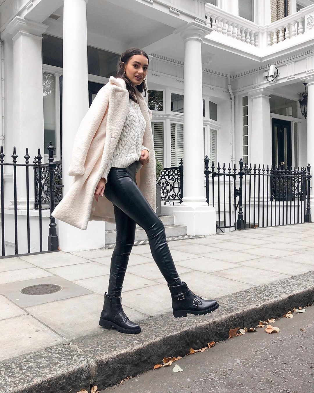 coat teddy bear coat white dress ankle boots black leather pants white sweater