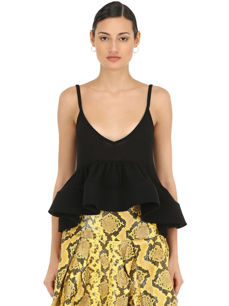 MARQUES'ALMEIDA Light Weight Knit Top W/ Crinoline Hem in black