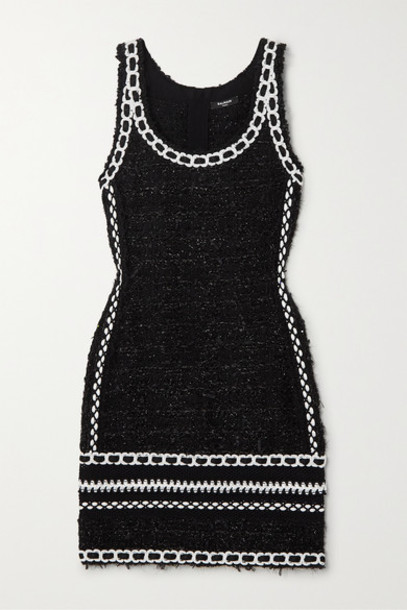 Balmain - Embroidered Metallic Tweed Mini Dress - Black