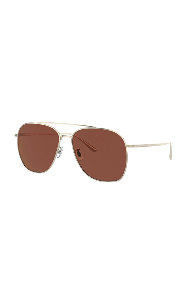 Oliver Peoples THE ROW Ellerston Gold-Tone Aviator Sunglasses in burgundy