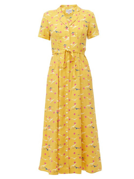 Hvn - Maria Seagull Print Silk Midi Dress - Womens - Yellow