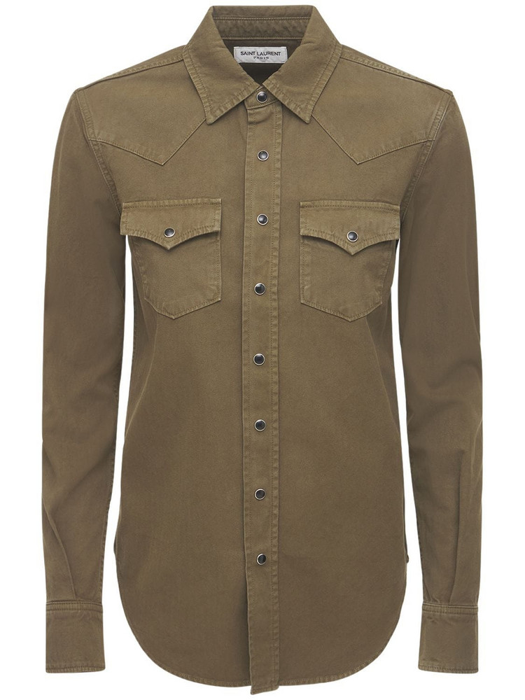 SAINT LAURENT Western Cotton Denim Shirt in khaki