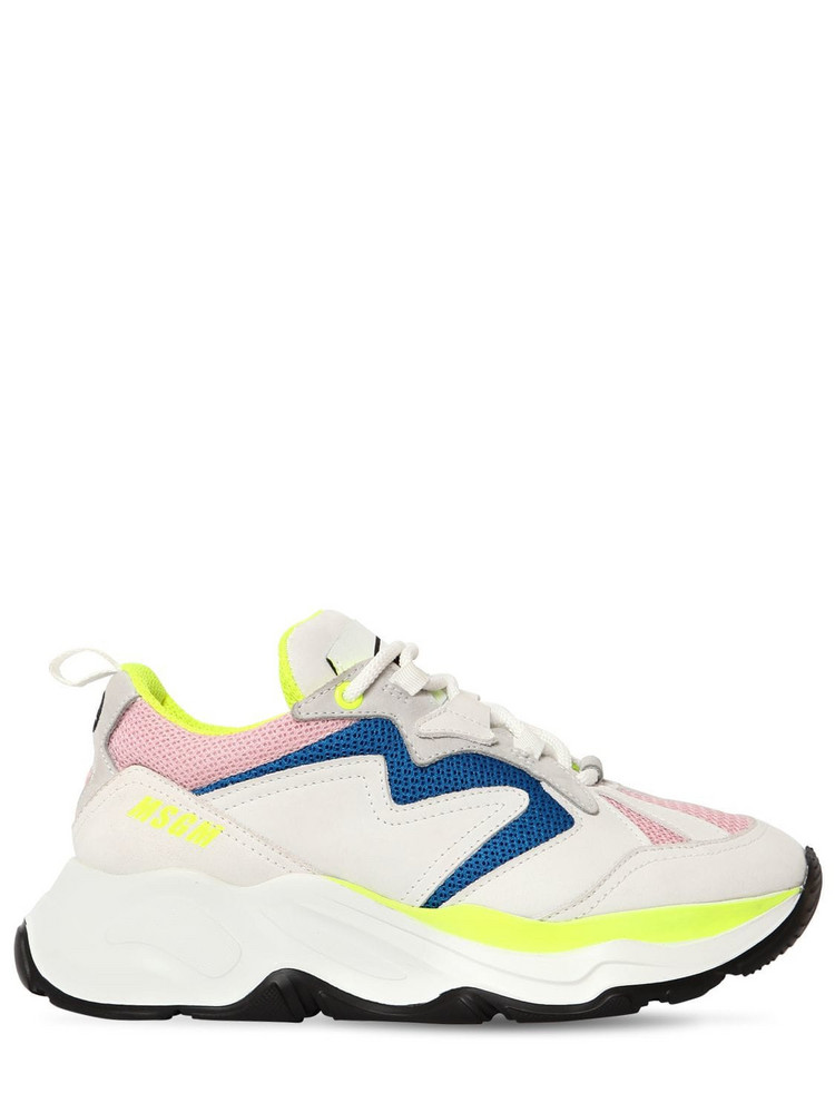 MSGM 50mm Attack Mesh & Suede Sneakers in pink / white
